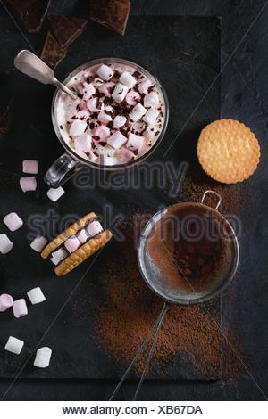 Tasse en verre de chocolat chaud avec des guimauves, biscuits naturalisé par les guimauves, Hacher le chocolat et le cacao en poudre de la grille à vo Banque D'Images