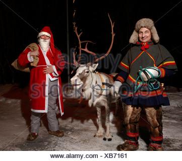 Le Père Noël et les rennes, Jukkasjarvi, Kiruna, Suède