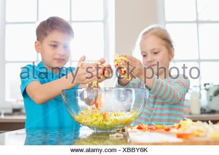 Frère et sœur preparing salad in kitchen Banque D'Images