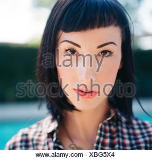 Extreme Close Up Portrait Of A young woman Banque D'Images