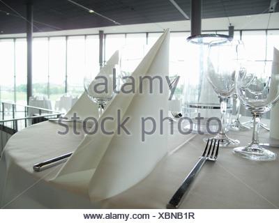 Serviette de table placesetting et sur Banque D'Images