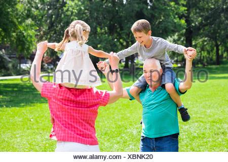 Les grands-parents petits-enfants donnant Piggyback Ride In Park Banque D'Images