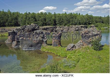 Les roches volcaniques du lac Mývatn, en Islande Banque D'Images