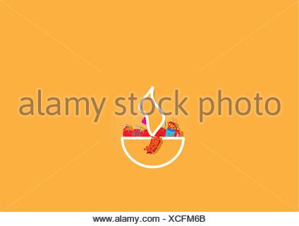 Diwali lampe à huile de pétards isolé sur fond orange