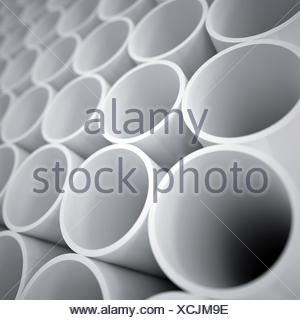 Les bouteilles en plastique blanc comme un arrière-plan industriel Banque D'Images