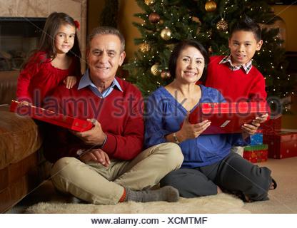 Les grands-parents avec petits-enfants in front of Christmas Tree Banque D'Images