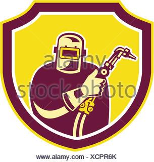 Illustration de l'ouvrier soudeur chalumeau holding vue de l'avant à l'intérieur du flasque sur fond isolé fait en style rétro. Banque D'Images
