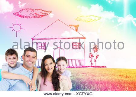 Image composite de portrait des parents de donner aux enfants piggyback ride Banque D'Images
