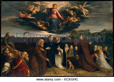 La Vierge adorée par les Saints. Artiste: Scarsellino (Ippolito Scarsella) (Italien, Ferrarese, ca. 1550-1620); Date: ca. 1609; Medium: Huile sur cuivre; Banque D'Images