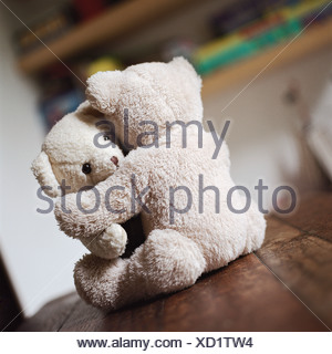 Nounours hugging on table Banque D'Images