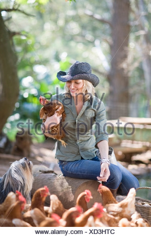 Woman feeding chickens on farm Banque D'Images
