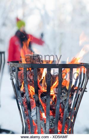 Close up of fire dans la fosse Banque D'Images
