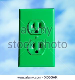 Prise de courant vert Banque D'Images