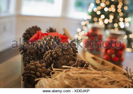 Woodstock, New York USA boules de verre rouge décorations de Noël des pommes de pin Banque D'Images