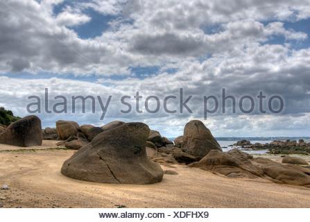 Des pierres sur la plage, Ile Callot, Finistre, Bretagne, Bretagne, France, Europe