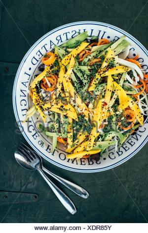 Salade fraîche et colorée avec du chou,vegan,carotte,avocat,mangue gingembre, chichoree,black cumun, Cresson Banque D'Images