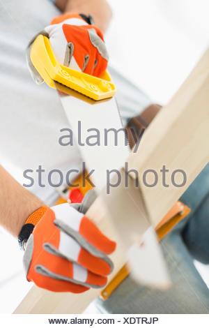 Portrait de l'homme bois plank Banque D'Images