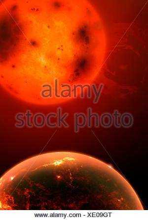 Illustration de l'exoplanète kepler 1649b. cette planète rocheuse (terrestres), légèrement plus grande que la terre, en orbite autour d'une étoile naine rouge 220 années-lumière. la planète orbite son étoile si étroitement que la planète reçoit 2,3 fois plus de rayonnement de son étoile que la terre reçoit du soleil, malgré le soleil étant beaucoup plus lumineux. Dans cette image, la planète est décrite comme un peu comme Vénus était dans le passé, et très chaude volcanique. Les astronomes ont choisi kepler 1649b, parce que c'est un de plusieurs bons candidats pour la recherche atmosphérique dans les futures études spatiales. Banque D'Images