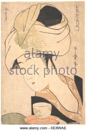 Une serveuse de thé. Artiste: Kitagawa Utamaro (1753?-1806, Japonais); période: période Edo (1615-1868); Date: ca. 1795; Culture: Japon; moyen: Album Banque D'Images