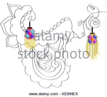 Diwali décoration avec des lanternes en papier isolé sur fond blanc