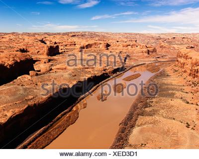 Paysage aérien de rivière dans le Parc National de Canyonlands Moab Utah United States Banque D'Images