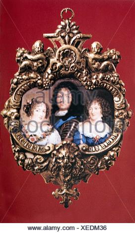 Louis XIV, 5.9.1638 - 1.9.1715, roi de France 1643 - 1715, portrait, avec ses maîtresses Louise de la Vallière et Françoise Marquise de Montespan, miniature, Banque D'Images