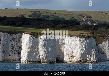 Studland, Dorset, Inghilterra, Regno Unito. Settembre 2019. Bianco gesso scogliere dell'isola di Purbeck vista dal mare. Ballard verso il basso e il SW Sentiero costiero Foto Stock