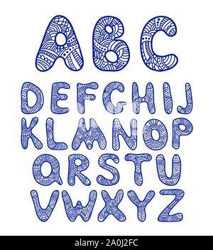 Doodle disegnato a mano alfabeto divertente Foto Stock