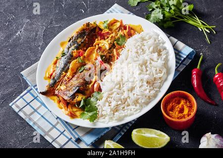 Close-up di pesce giallo curry, Panang curry con grigliate di Saba sgombro pesce servite con cotto a vapore il riso a grani lunghi su una piastra su un tavolo di cemento Foto Stock