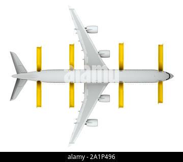 Aeroplano vista superiore con rilasciato il salvataggio delle scale isolate su bianco. Il rendering 3D Foto Stock