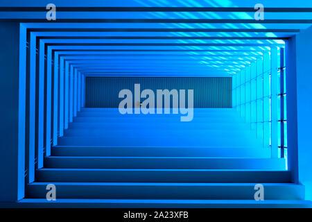 Vista prospettica di moderni soffitti con forte geometria e simmetria come sfondo astratto in soft focus e filtrato modifica Foto Stock