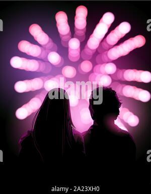 Un paio di adulti guardando uno spettacolo pirotecnico insieme di notte. Celebrazione sfondo vettoriale.