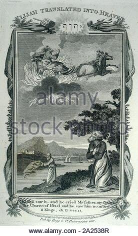 Incisione su rame di una scena biblica: Eliseo guarda il suo padre Elia, essendo trasportato in cielo nel fuoco del carro di Israele (2 Re 2:12). Datata del XIX secolo Foto Stock