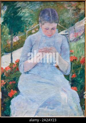 "'''Jeune fille au jardin"", 1880-1882, Mary Cassatt (1844-1926), il Musée d'Orsay, Parigi, Francia, Europa Foto Stock"