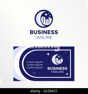 Logo e business card città notte di luna e le sagome delle case. Un segno rotondo