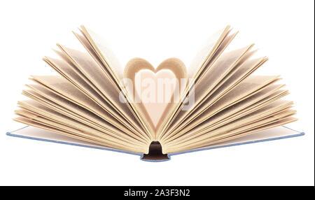 Prenota con pagine aperte in forma di cuore, isolati su sfondo bianco. Bibliophilia.