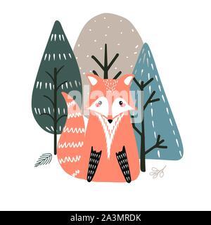 Carino fox su uno sfondo di alberi. Mano Illustrazione disegnata in stile scandinavo.
