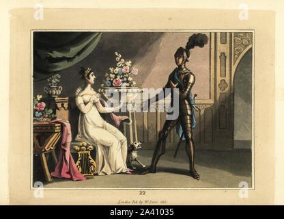 Cavaliere medievale in armatura con la sua signora. Sir Ethelbert e Adelaide. Handcolored incisione su rame dopo una illustrazione di Thomas Rowlandson dal torneo o giorni della cavalleria, William Sams, Londra, 1823.