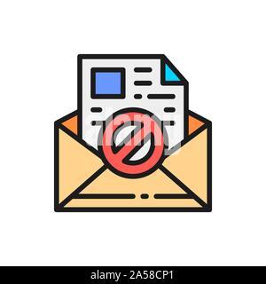 E-mail, protezione anti-malware, spyware, trojan piatta linea colore icona. Foto Stock