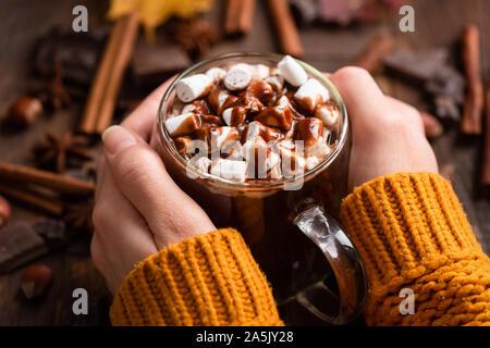 La tazza di cioccolata calda con marshmallows, cannella e salsa al cioccolato in mani femminili. Primo piano. Comfort food per autunno e inverno Foto Stock