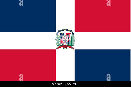 Nationalfahne, Flagge von Dominikanische Republik, Grosse Antillen, Insel Hispanola, Karibik,