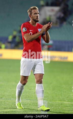 Sofia, Bulgaria - 14 Ottobre 2019: Harry Kane celebra il punteggio Inghilterra del sesto obiettivo contro la Bulgaria durante la Bulgaria vs Inghilterra match parte del 2020 e