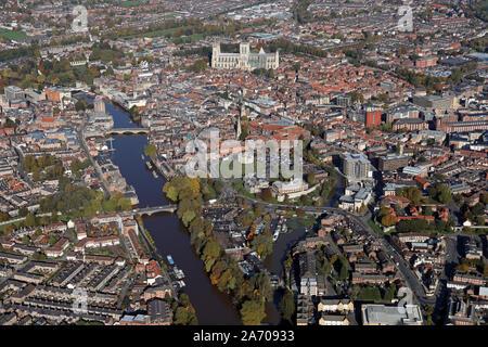 Vista aerea del centro di York skyline, Yorkshire, Regno Unito Foto Stock