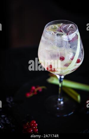gin tonico con rabarbaro fresco e mirtilli rossi