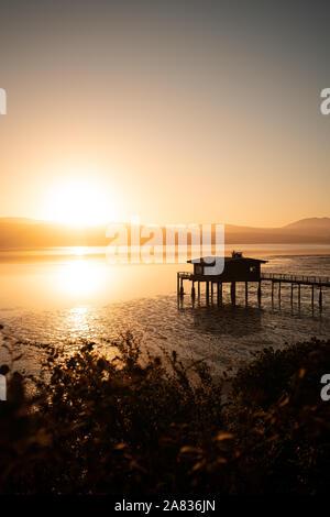 Sunrise in corrispondenza di un molo nel punto Reyes