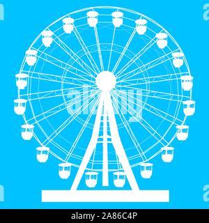 Silhouette atraktsion colorata ruota panoramica Ferris su sfondo blu illustrazione.