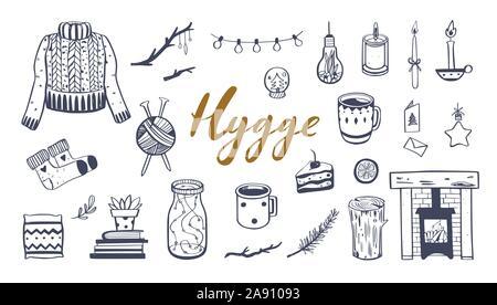Lo stile di vita danese concetto- Hygge. Vettore disegnati a mano illustrazioni . Elementi di accoglienti per la stagione invernale. Camino, candele, cacao e altri hygge attribut