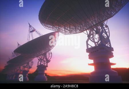 Parabole satellitari, illustrazione Foto Stock