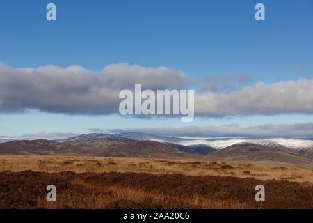 Guardando a nord sulle montagne innevate di Angus Glens in Cairngorm National Park, con la prima neve della stagione sulla sommità. Foto Stock