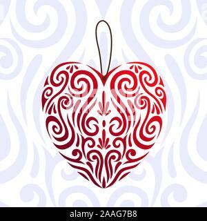 Abstract il giorno di San Valentino rosso amore icona cuore e stilizzato koru Maori Tattoo - facile cambiare colore